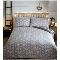 Aspen Charcoal Flannelette Single Duvet Cover Set Nordic Pattern Bedding