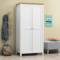 Astbury 2 Door Double Wardrobe White and Oak Bedroom Furniture - TIMBER ART DESIGN UK