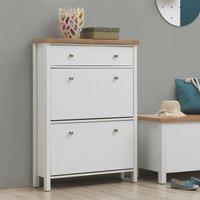 Timber Art Design Uk - Astbury 3 Tier Shoe Cabinet Storage Cupboard Footwear Stand Rack Wooden White