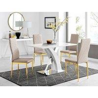 Furniturebox Uk - Atlanta 4 White Dining Table and 4 Cappuccino Gold Leg Milan Chairs