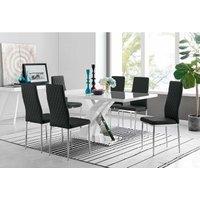 Furniturebox Uk - Atlanta Modern Rectangle Chrome Metal High Gloss White Dining Table And 6 Black Milan Chairs Set