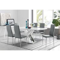 Atlanta Modern Rectangle Chrome Metal High Gloss White Dining Table And 6 Grey Milan Chairs Set