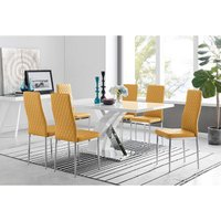 Furniturebox Uk - Atlanta Modern Rectangle Chrome Metal High Gloss White Dining Table And 6 Mustard Milan Chairs Set