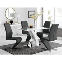 Furniturebox Uk - Atlanta White High Gloss And Chrome Metal Rectangle Dining Table And 4 Black Willow Dining Chairs Set