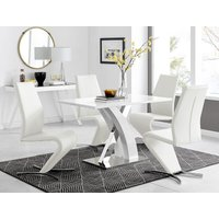 Furniturebox Uk - Atlanta White High Gloss And Chrome Metal Rectangle Dining Table And 4 White Willow Dining Chairs Set