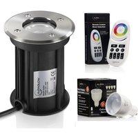 IP67 Recessed GU10 Holder Ground Light Outdoor Garden Patio Path Deck Light and RF Remote Control Colour Changing LED Light Bulb Bundle - Twin Pack
