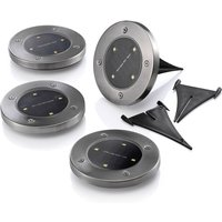 Auraglow Solar Powered Chrome Outdoor Garden LED Ground Deck Decking Lights 4 PACK