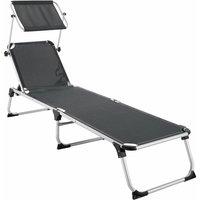 Tectake - Sun lounger Aurelie - garden lounger, garden sun lounger, reclining sun lounger - grey