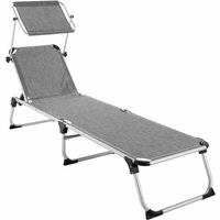 Tectake - Sun lounger Aurelie - garden lounger, garden sun lounger, reclining sun lounger - mottled grey