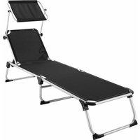 Tectake - Sun lounger Aurelie - garden lounger, garden sun lounger, reclining sun lounger - black