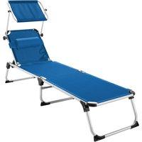 Tectake - Sun lounger Aurelie - garden lounger, garden sun lounger, reclining sun lounger - blue