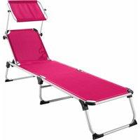 Tectake - Sun lounger Aurelie - garden lounger, garden sun lounger, reclining sun lounger - pink