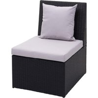 Fauteuil en polyrotin 876, chaise de jardin, gastronomie ~ noir, coussin gris clair - HHG