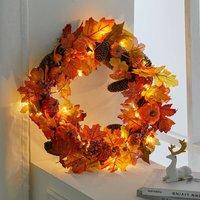 Autumn Leaf Artificial Maple Pumpkin Berry Wreath Rattan Home Decor, Pine Cone 60CM - LIVINGANDHOME