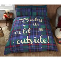 Baby Its Cold Outside Blue Single Duvet Cover and 1 Pillowcase Bedding Bed Set Christmas - RAPPORT
