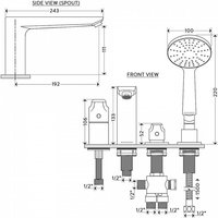 BAGNODESIGN Diplomat 4 tap hole deck mounted bath shower mixer Chrome