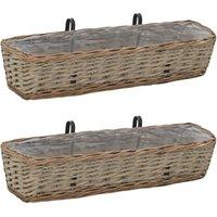 Balcony Planter 2 pcs Wicker with PE Lining 80 cm - Brown - Vidaxl