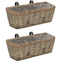 Zqyrlar - Balcony Planter 2 pcs Wicker with PE Lining 40 cm - Brown