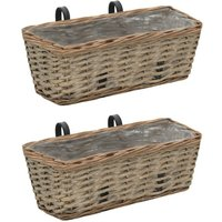 Balcony Planter 2 pcs Wicker with PE Lining 40 cm - ASUPERMALL