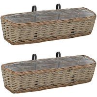 Balcony Planter 2 pcs Wicker with PE Lining 60 cm - YOUTHUP