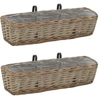 Balcony Planter 2 pcs Wicker with PE Lining 60 cm - ASUPERMALL