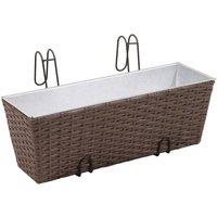 Balcony Trapezoid Rattan Planter Set 50 cm 2 pcs Brown QAH26352