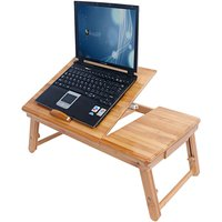 Bamboo Portable Folding Laptop Computer Notebook Table Bed Desk Bed Tray Stand - No pattern - TALKEACH