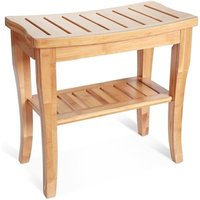 Bamboo Shower Bench Seat Wooden Spa Bench Stool with Storage Shelf