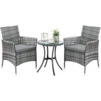3 Piece Rattan Garden Furniture Set, Outdoor Rattan Bistro Set Garden Table and Chairs, With 5cm Cushion for Garden, Patio, Porch, Poolside - Bamny