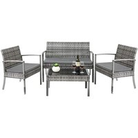 BAMNY 4PCS Rattan Garden Furniture Set, Outdoor Wicker Garden Table and Chairs with Seat Cushion Tempered Glass Coffee Table for Balcony Patio