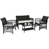 Rattan Garden Furniture Set, 4 Piece PE Rattan Patio Furniture Sets Weaving Wicker Sofa Set With Cushion Glass Table, For Patio, Lawn, Garden,
