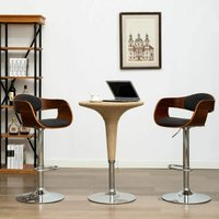 Bar Chairs 2 pcs Grey Bent Wood and Fabric - Grey - Vidaxl