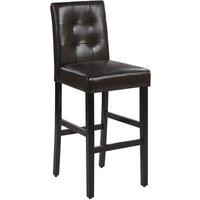 Modern Button Tufted Upholstered Brown Faux Leather Kitchen Bar Stool with Backrest Madison
