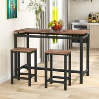 Bar Table Set, Bar Table with 2 Bar Stools, Breakfast Bar Table and Stool Set, Kitchen Counter with Bar Chairs, Industrial for Kitchen, Living Room,