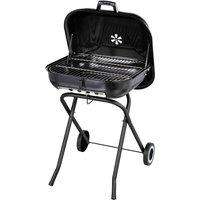 Outsunny - Barbecue à charbon pliable BBQ grill sur pied avec couvercle et roulettes dim. 57L x 70l x 86H cm acier émaillé noir
