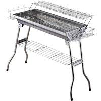 Outsunny - Barbecue à charbon pliable portable BBQ grill sur pied avec étagère + 2 grilles cuisson dim. 100L x 43l x 68H cm acier inox.