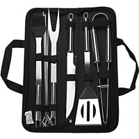 Barbecue Accessory Kit Grill Tool Set Versatile with Storage Case Stainless Steel BBQ 9-piece Unit