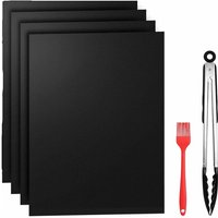 Barbecue carpets, kitchen mats, kitchen mats, high temperature resistant anti-adhesive, 40 * 50cm black (4 pieces) + 12 inch silicone food clamp +