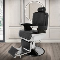 Barber Salon Chairs Beauty Reclining Leather Seats, Black