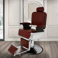 Barber Salon Chairs Beauty Reclining Leather Seats, Wine Red