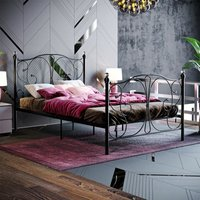 Barcelona Small Double Metal Bed, Black