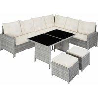Barletta Rattan Garden Furniture Set, variant 2 - rattan garden furniture set, rattan garden furniture, lounge set - light grey - light grey - TECTAKE
