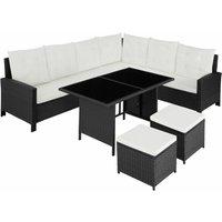 Barletta Rattan Garden Furniture Set, variant 2 - rattan garden furniture set, rattan garden furniture, lounge set - black - black - TECTAKE