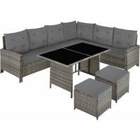 Barletta Rattan Garden Furniture Set, variant 2 - rattan garden furniture set, rattan garden furniture, lounge set - grey/beige - grau/beige - TECTAKE