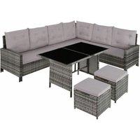 Barletta Rattan Garden Furniture Set, variant 2 - rattan garden furniture set, rattan garden furniture, lounge set - grey - grey - TECTAKE