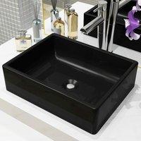 Zqyrlar - Basin Ceramic Rectangular Black 41x30x12 cm - Black