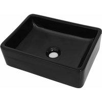 vidaXL Basin Ceramic Rectangular Black 41x30x12 cm - Black