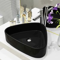 Basin Ceramic Triangle Black 50.5x41x12 cm - VIDAXL