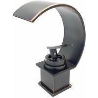 Pepte - Basin Sink Designer Mixer Tap Waterfall Black Copper Effect Single Handle