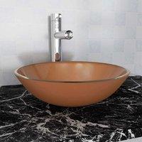 Zqyrlar - Basin Tempered Glass 42 cm Brown - Brown